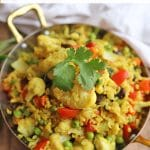 Text overlay: Mixed vegetable ginger & turmeric rice. Vegan and gluten-free. Pan with fried rice.