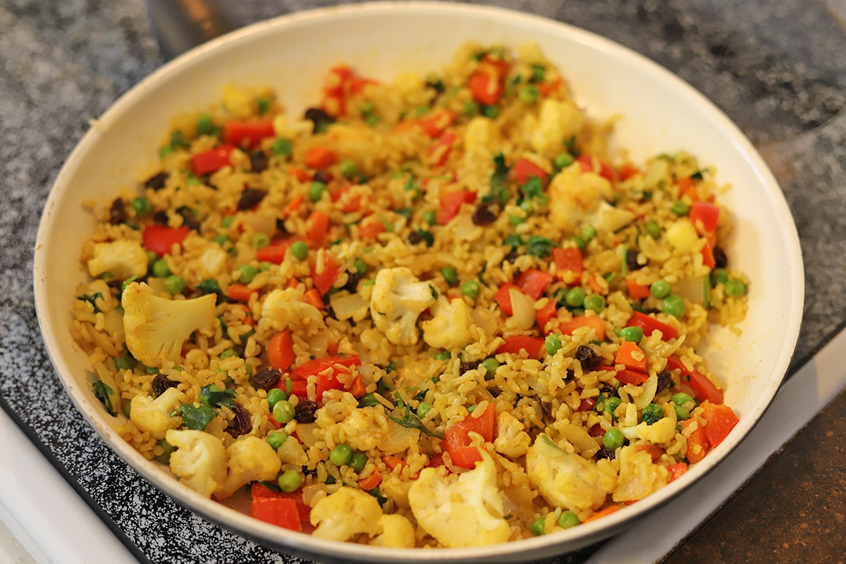 Fried rice in skillet.
