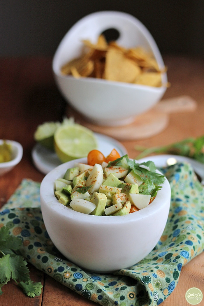 Vegan ceviche made with hearts of palm on green napkin.