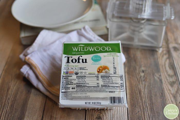 Wildwood tofu in package with tofu press.