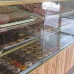 Vegan donuts in donut case at Ronald's Donuts in Las Vegas, Nevada.