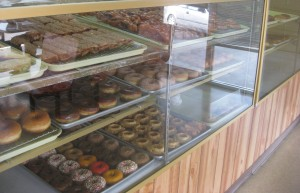 Vegan donuts in donut case at Ronald's Donuts in Las Vegas, Nevada.