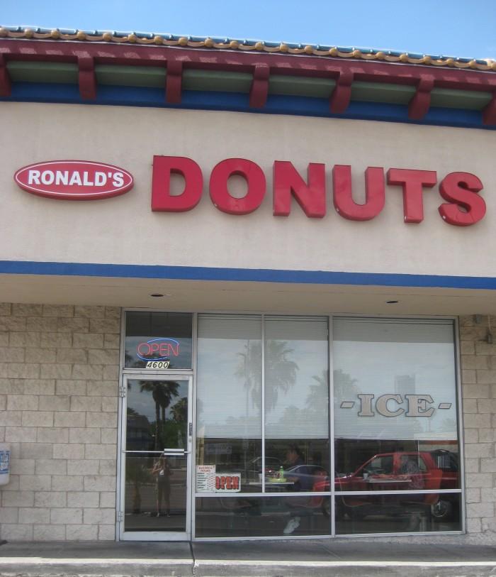 Exterior Ronald's Donuts in Las Vegas, Nevada.