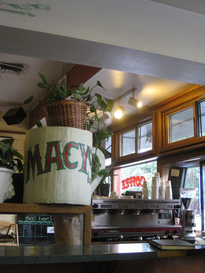 Over-sized coffee mug & coffee counter at Macy's in Flagstaff, Arizona.
