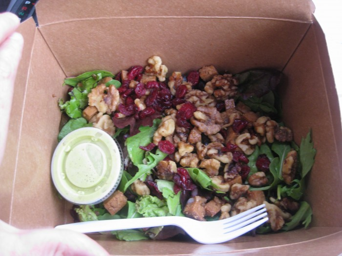 Salad with cranberries in to-go container from Macy's Coffee House in Flagstaff, Arizona.