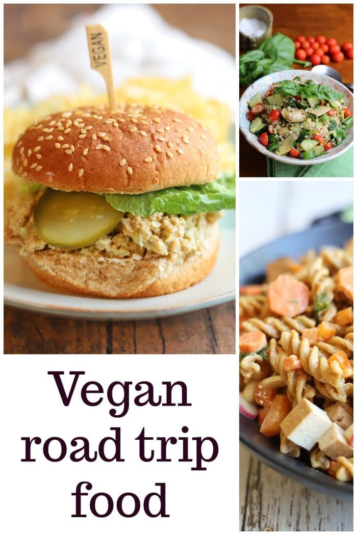 Text overlay: Vegan road trip food. Collage with sandwich and pasta salads.