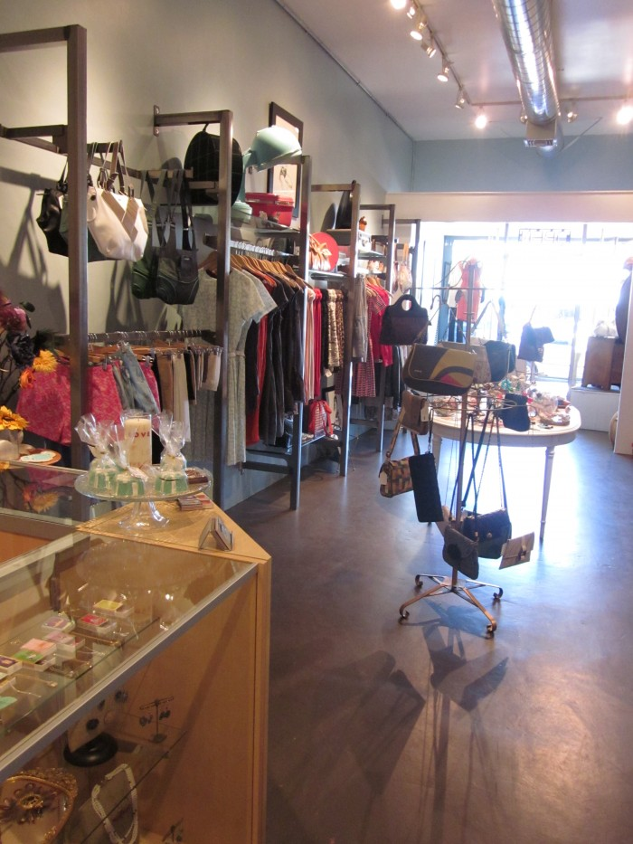 Purses and dresses on display at Audrey K in Burbank, California.