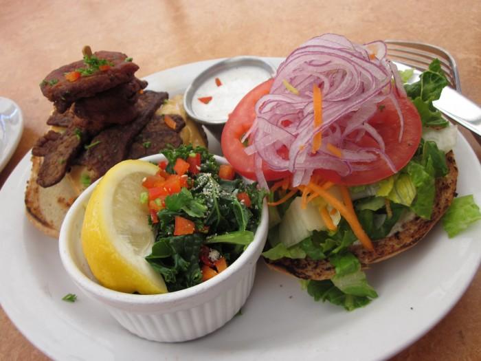 Oklahoma bacon cheeseburger & cup of kale at Native Foods.