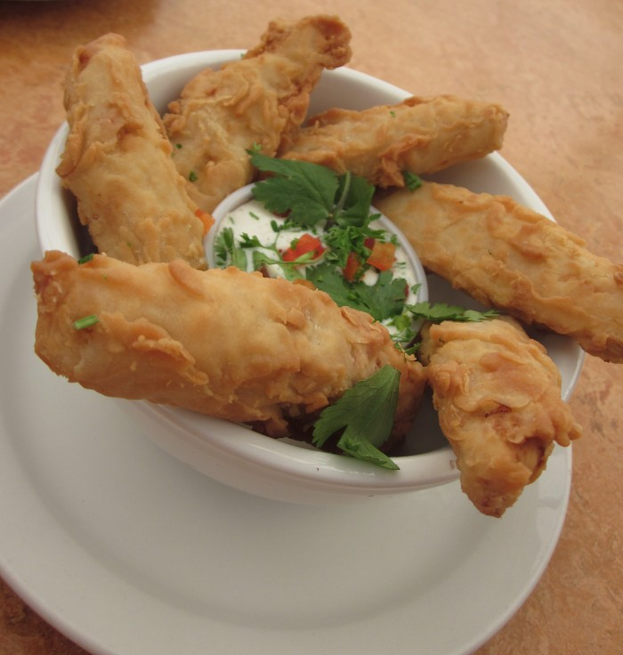 Vegan chicken strips in bowl with ranch dip at Native Foods.