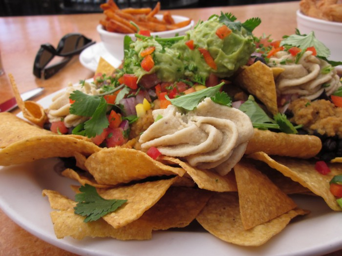 Nacho plate at Native Foods. Sweet potato fries in background.
