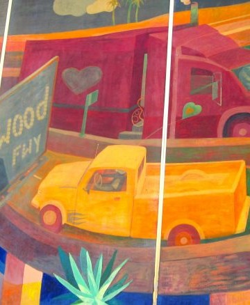Mural of 170 freeway with sign and trucks on road.