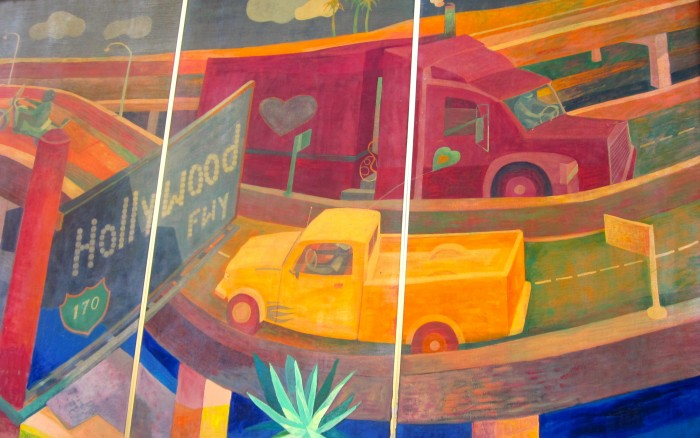Mural of 170 freeway with trucks on bend in road.