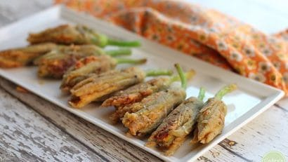 Fried squash blossoms on platter.