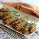 Fried cashew cheese stuffed squash blossoms