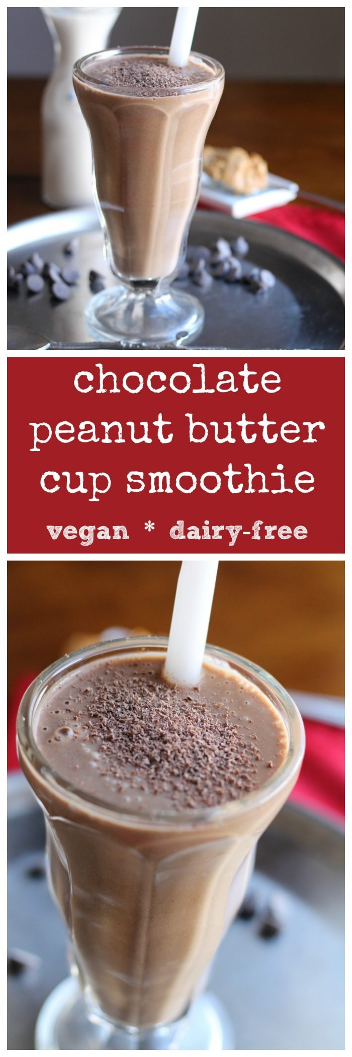 Chocolate peanut butter cup smoothie: A delicious breakfast for breakfast, a snack, or dessert! Vegan & dairy-free | cadryskitchen.com