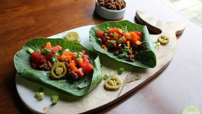 Raw tacos with walnut taco filling: Why have salad when you can have tacos? It makes a great vegan lunch or dinner that is quick, delicious, and filling. | cadryskitchen.com