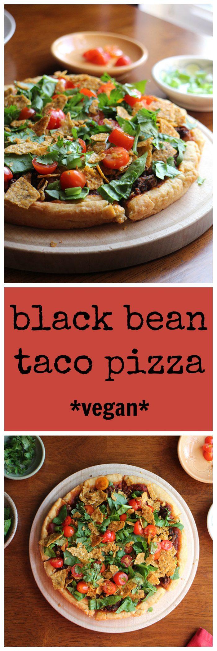 Black bean taco pizza - vegan comfort food & a wonderful weeknight meal | cadryskitchen.com