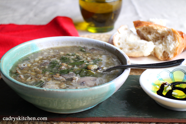 Double Lentil and Mushroom Barley Soup - Cadry's Kitchen