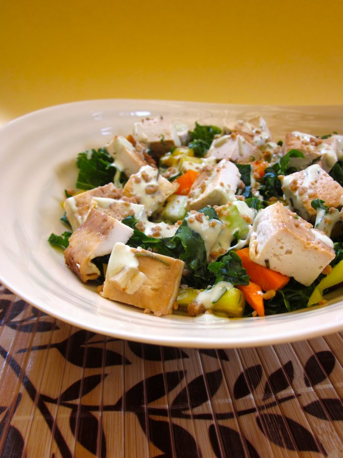 Kale Salad in a Creamy Cafe Dressing