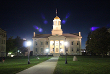 Iowa City capitol building at night.