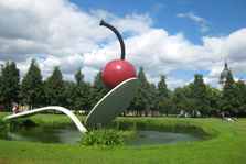 Spoon with cherry statue in Minneapolis.