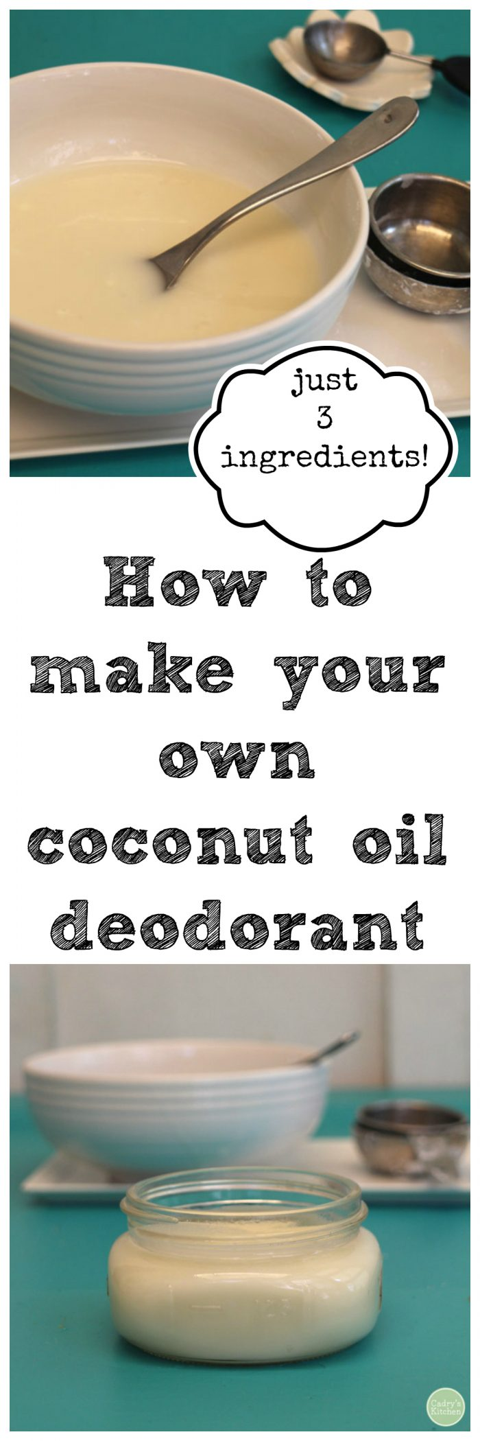 DIY: How to make your own coconut oil deodorant. Just 3 ingredients. It really works!   cadryskitchen.com #vegan