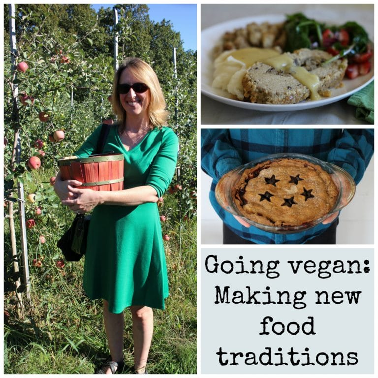 Cadry at apple orchard, apple pie, vegan Thanksgiving plate + Going vegan: Making new food traditions