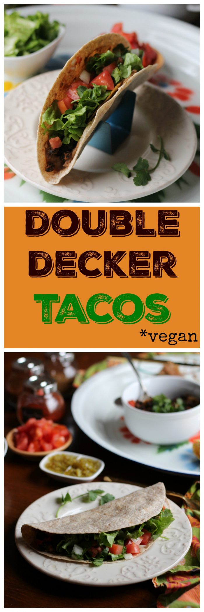 Double decker tacos are an old fast food favorite. Now you can enjoy a vegan version at home with two layers of beans, hard and soft shells, and veggies. #tacos #vegan #copycat