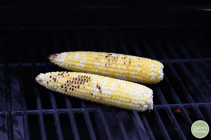 Grilled corn on the cob on outdoor grill
