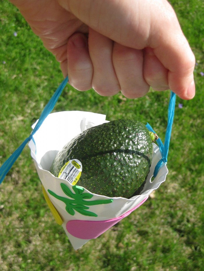 Hand holding May Day basket with avocado inside.