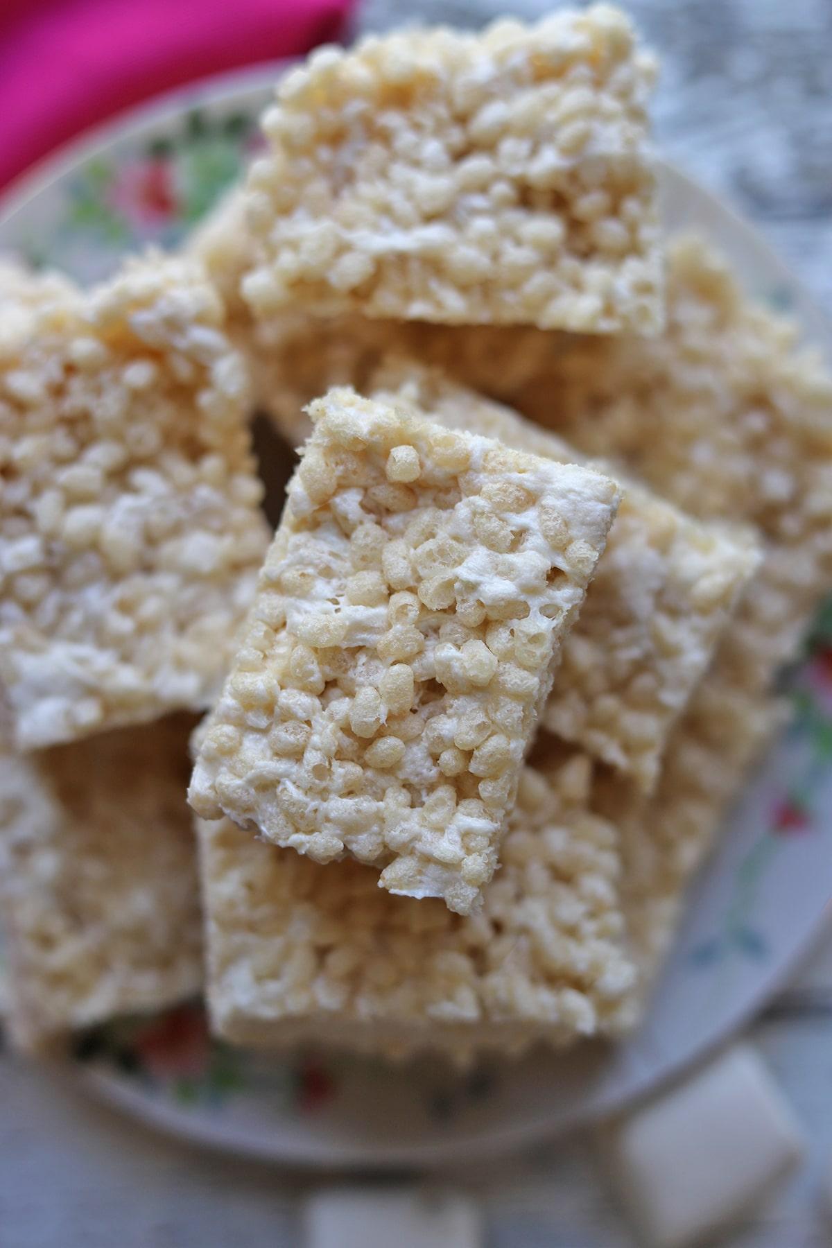 Overhead vegan rice crispy treats on platter.