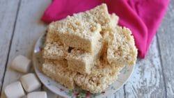 Platter of vegan rice krispie treats by marshmallows.