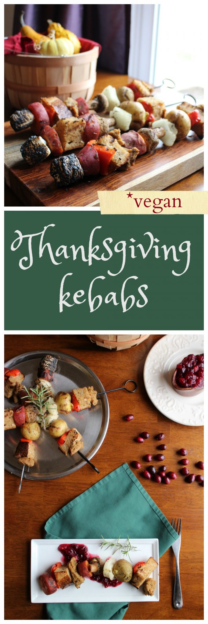 Venture outside your boring holiday meals with these grilled Thanksgiving kebabs. This vegan entree has all of your Thanksgiving favorites in deconstructed form. Potatoes, stuffing, seitan, and even sweet potatoes with marshmallows. Vegan.   cadryskitchen.com