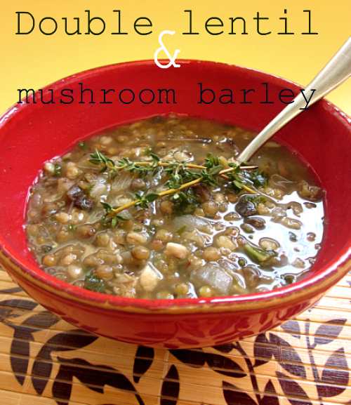Double lentil mushroom & barley soup with collard greens