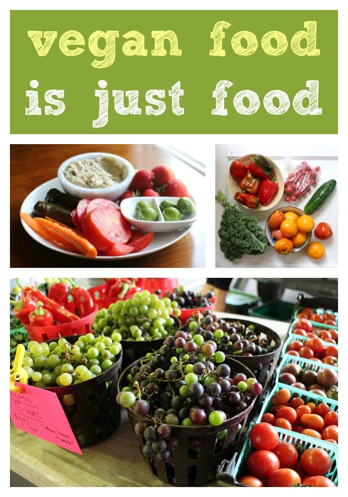 Text: Vegan food is just food. Collage of fruits and vegetables.