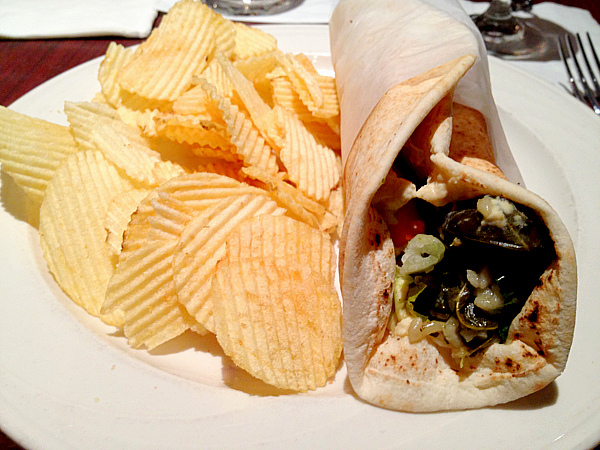 pita with hummus and stuffed grape leaves