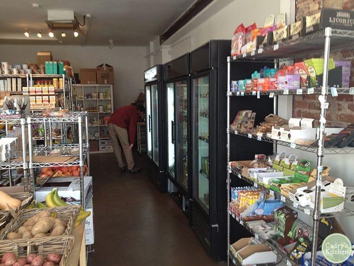 Interior Nooch vegan market in Denver, Colorado.