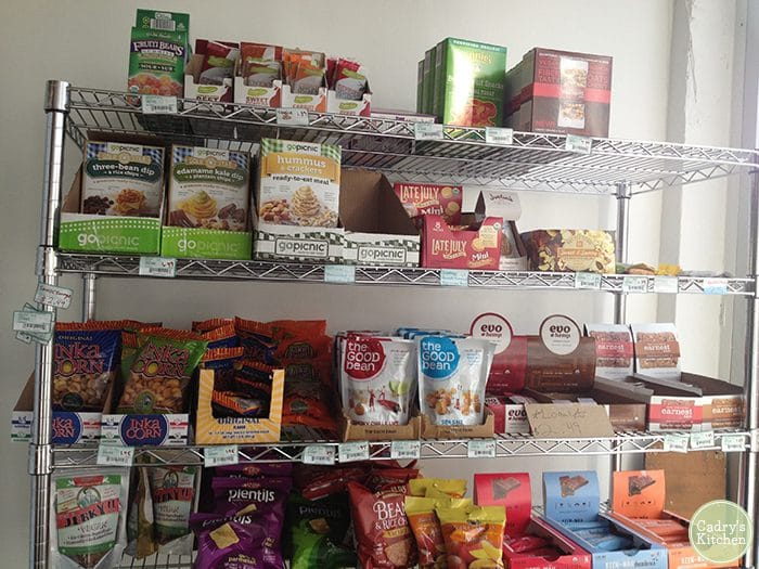 Shelf at Nooch Vegan Market in Denver, Colorado.