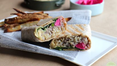 Double Hummus Wraps: These portable wraps are stuffed with classic chickpea & black bean hummus, rice, romaine, and turnip pickles. The creamy hummus balances perfectly with the pickled bite of the turnips. They are finished in a grilled pan. Vegan. | cadryskitchen.com