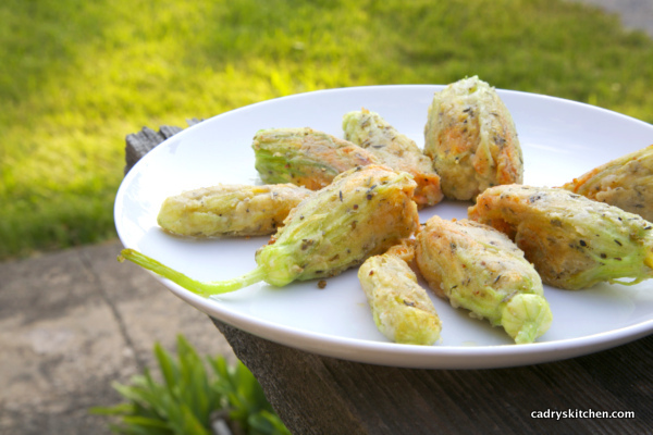 Fried Cashew-Cheese Stuffed Squash Blossoms - Cadry's Kitchen