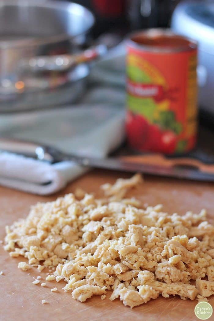 Re-hydrated Soy Curls on cutting board.