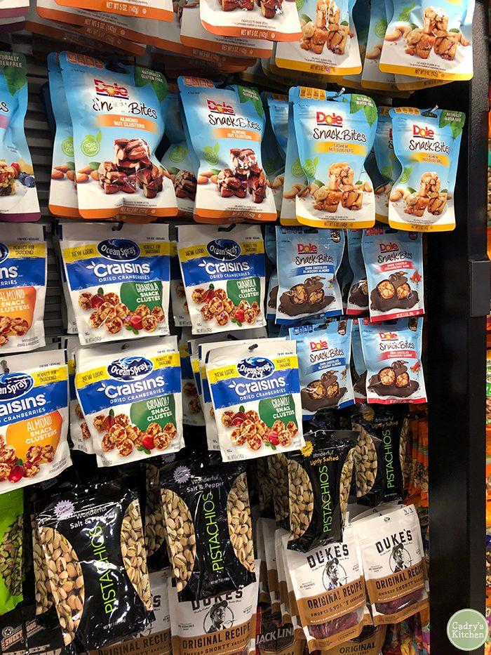 Vegan snacks in store at Denver Airport.
