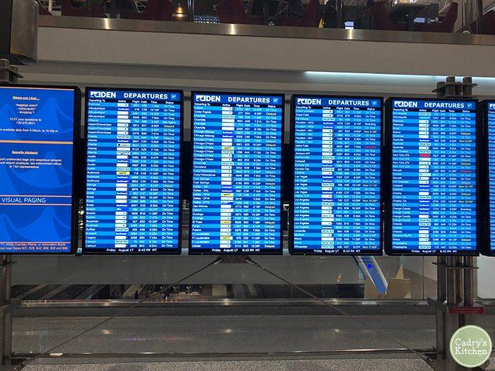 Departures sign at Denver International Airport.
