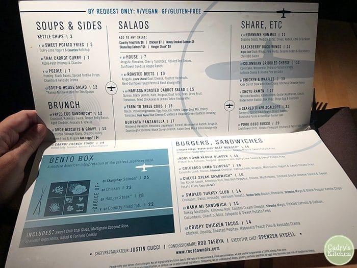 Paper menu in Root Down at Denver Airport.