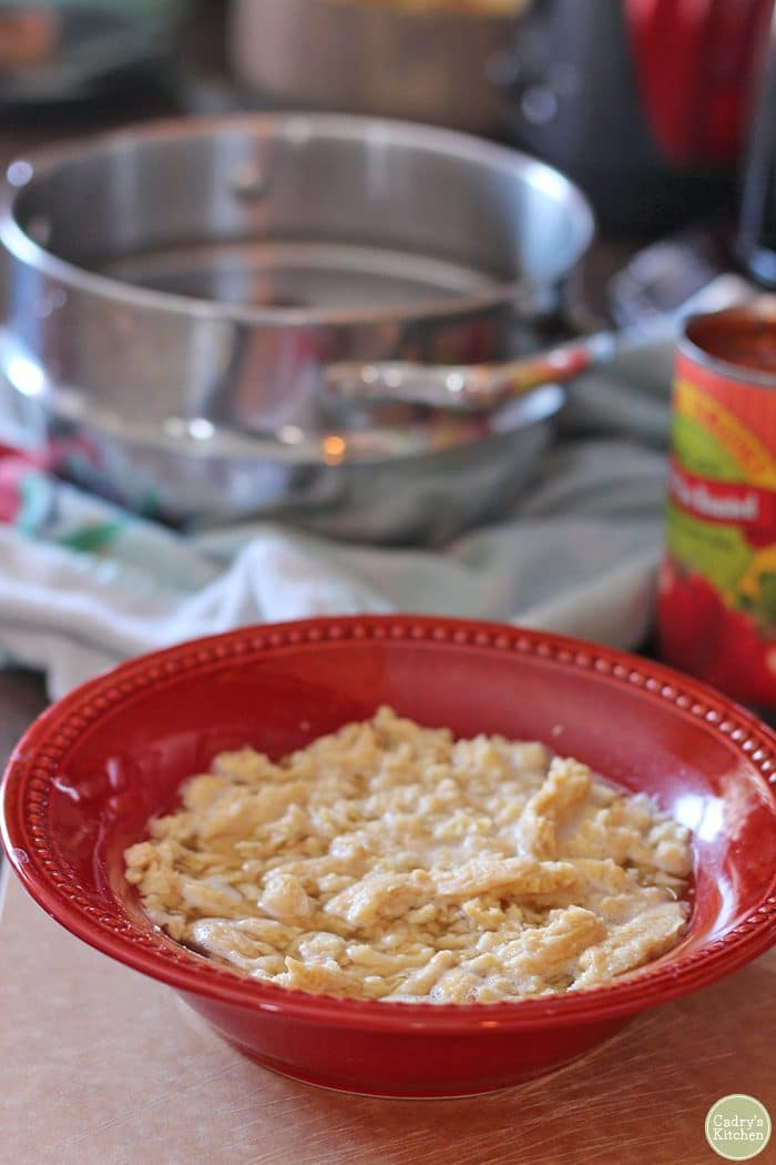 Soy Curls hydrating in broth.