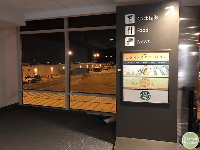 Starbucks sign inside of Denver Airport.
