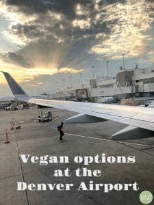 Denver Airport vegan options text + airplane wing & DIA.