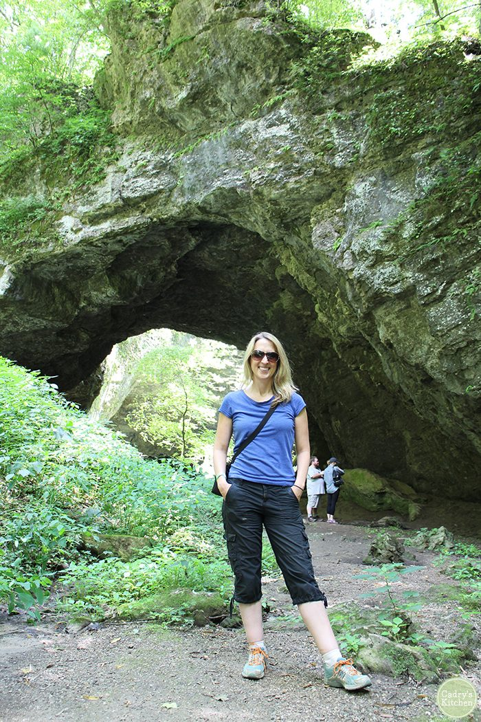 Cadry standing on trail in Maquoketa Caves.