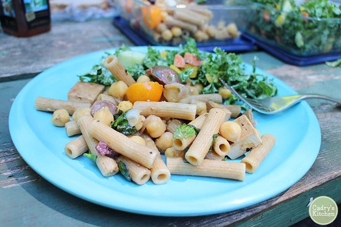 Blue plate with pasta salad and kale salad.
