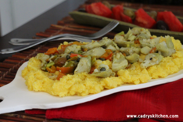 Polenta with artichokes & bell pepper